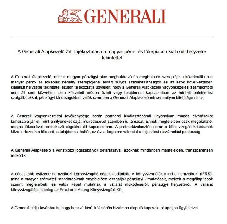 Generali pénzügyi tájékoztatás